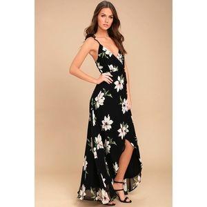 LuLu's ALL MINE BLACK FLORAL HIGH-LOW WRAP Dress